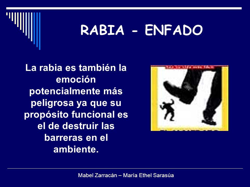 RABIA - ENFADO La rabia es también la emoción potencialmente más peligrosa ya que su propósito funcional es el de destruir las barreras en el ambiente.