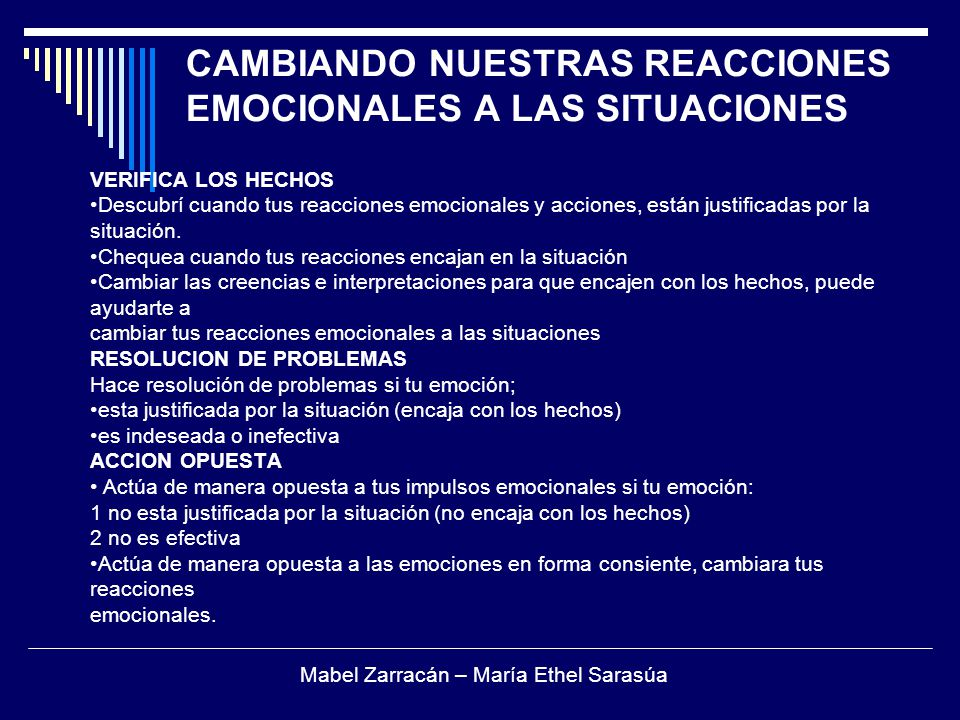 CAMBIANDO NUESTRAS REACCIONES EMOCIONALES A LAS SITUACIONES VERIFICA LOS HECHOS Descubrí cuando tus reacciones emocionales y acciones, están justificadas por la situación.