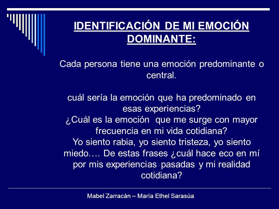 IDENTIFICACIÓN DE MI EMOCIÓN DOMINANTE: Cada persona tiene una emoción predominante o central.