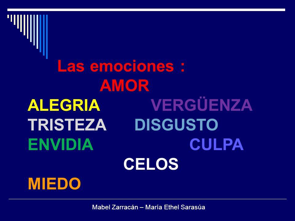 Las emociones : AMOR ALEGRIA VERGÜENZA TRISTEZA DISGUSTO ENVIDIA CULPA CELOS MIEDO Mabel Zarracán – María Ethel Sarasúa