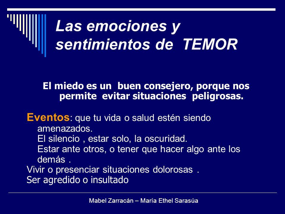 Las emociones y sentimientos de TEMOR El miedo es un buen consejero, porque nos permite evitar situaciones peligrosas. Eventos : que tu vida o salud e