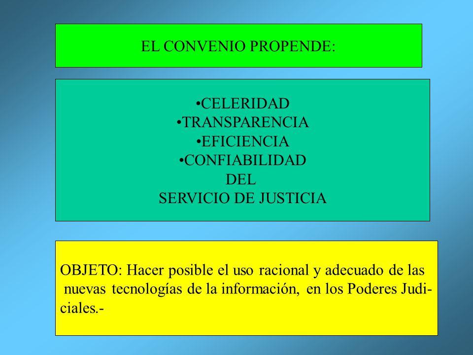 EL CONVENIO PROPENDE: CELERIDAD TRANSPARENCIA EFICIENCIA CONFIABILIDAD DEL SERVICIO DE JUSTICIA OBJETO: Hacer posible el uso racional y adecuado de la