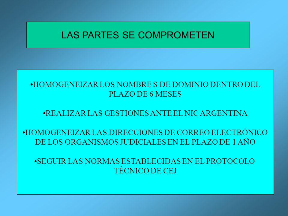 LAS PARTES SE COMPROMETEN HOMOGENEIZAR LOS NOMBRE S DE DOMINIO DENTRO DEL PLAZO DE 6 MESES REALIZAR LAS GESTIONES ANTE EL NIC ARGENTINA HOMOGENEIZAR LAS DIRECCIONES DE CORREO ELECTRÓNICO DE LOS ORGANISMOS JUDICIALES EN EL PLAZO DE 1 AÑO SEGUIR LAS NORMAS ESTABLECIDAS EN EL PROTOCOLO TÉCNICO DE CEJ