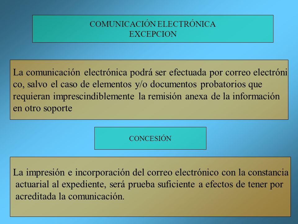 COMUNICACIÓN ELECTRÓNICA EXCEPCION La comunicación electrónica podrá ser efectuada por correo electróni co, salvo el caso de elementos y/o documentos probatorios que requieran imprescindiblemente la remisión anexa de la información en otro soporte CONCESIÓN La impresión e incorporación del correo electrónico con la constancia actuarial al expediente, será prueba suficiente a efectos de tener por acreditada la comunicación.