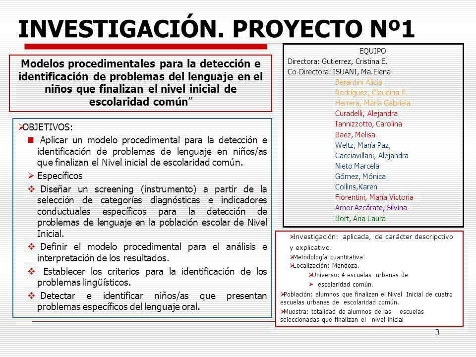 3 INVESTIGACIÓN. PROYECTO Nº1 OBJETIVOS: Aplicar un modelo procedimental para la detección e identificación de problemas de lenguaje en niños/as que f