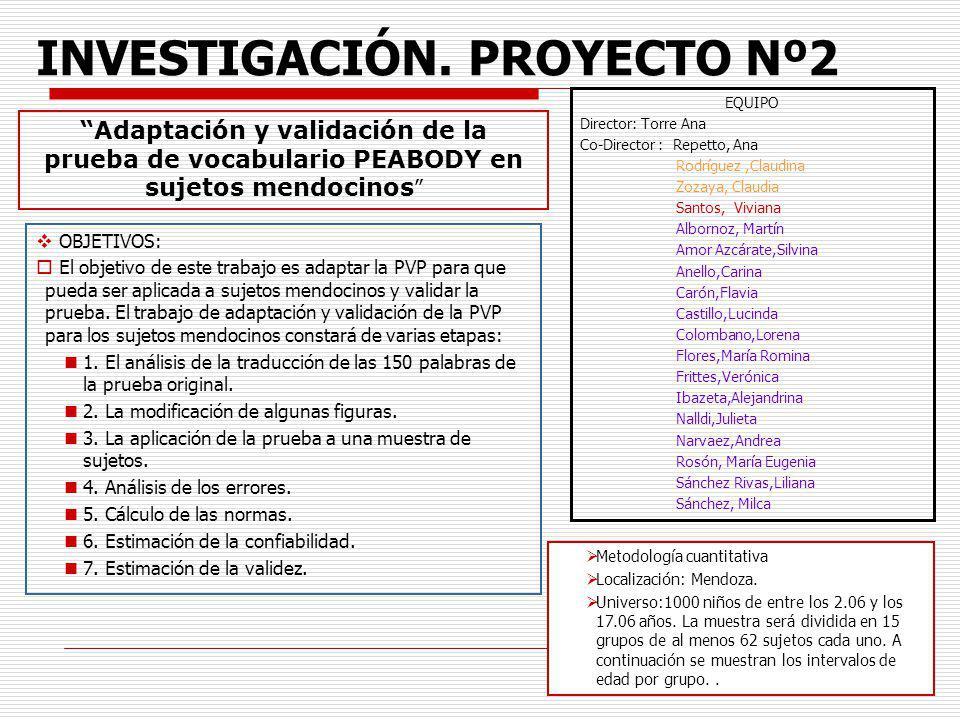 4 INVESTIGACIÓN. PROYECTO Nº2 OBJETIVOS: El objetivo de este trabajo es adaptar la PVP para que pueda ser aplicada a sujetos mendocinos y validar la p