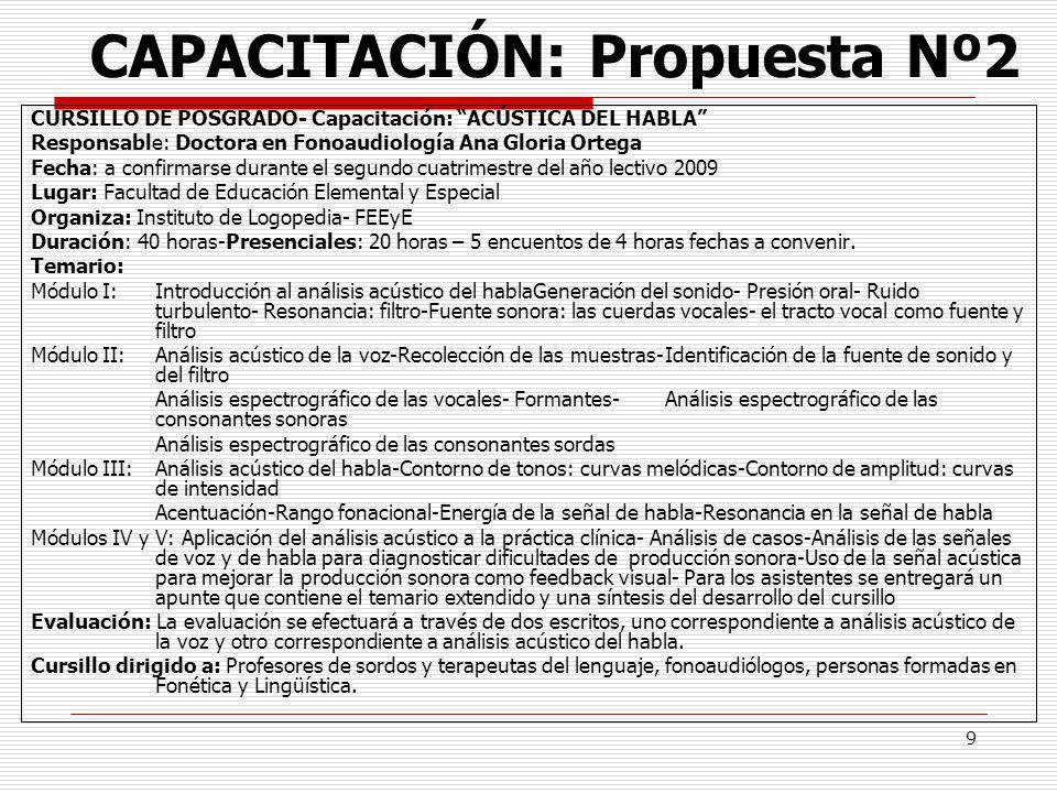 9 CAPACITACIÓN: Propuesta Nº2 CURSILLO DE POSGRADO- Capacitación: ACÚSTICA DEL HABLA Responsable: Doctora en Fonoaudiología Ana Gloria Ortega Fecha: a