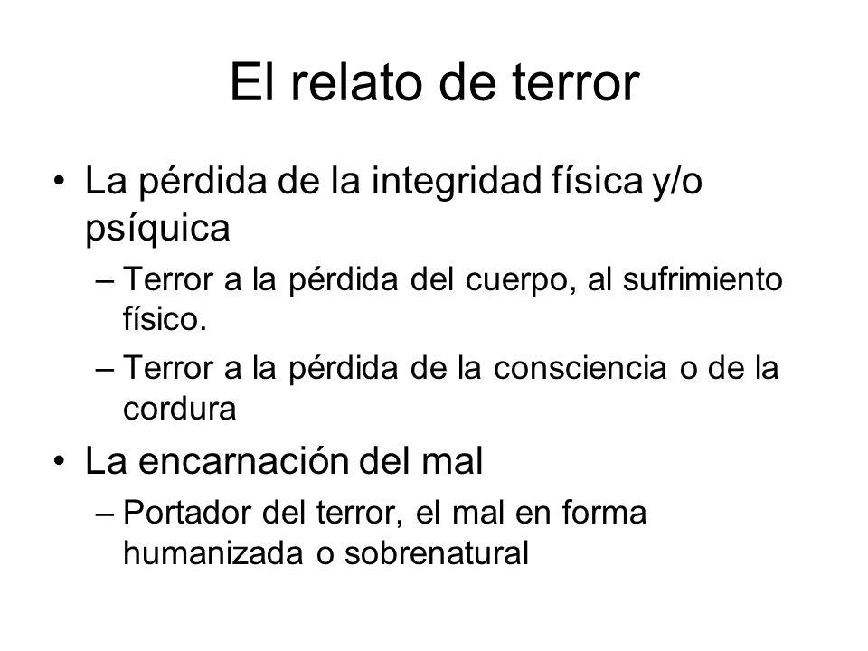 El relato de terror La pérdida de la integridad física y/o psíquica –Terror a la pérdida del cuerpo, al sufrimiento físico. –Terror a la pérdida de la