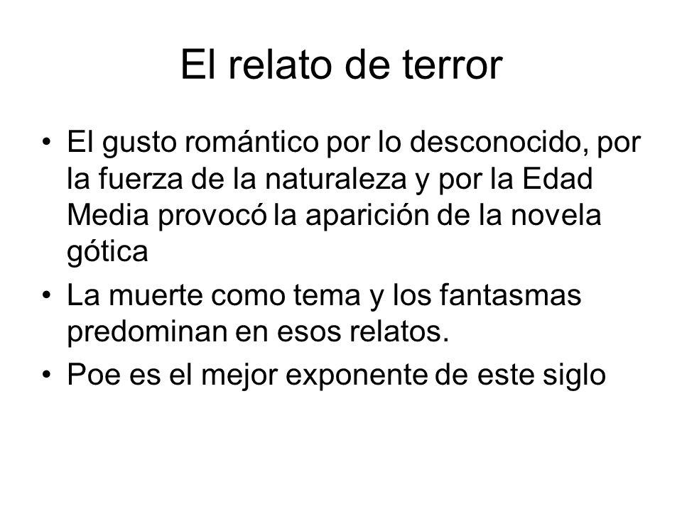 El relato de terror El gusto romántico por lo desconocido, por la fuerza de la naturaleza y por la Edad Media provocó la aparición de la novela gótica
