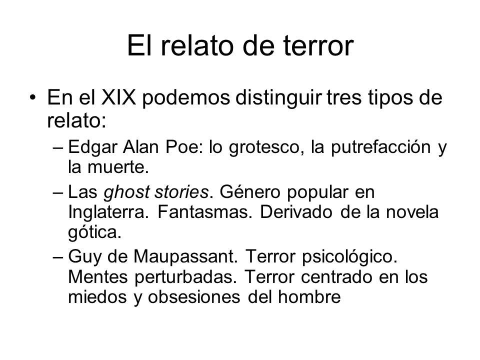 El relato de terror En el XIX podemos distinguir tres tipos de relato: –Edgar Alan Poe: lo grotesco, la putrefacción y la muerte. –Las ghost stories.