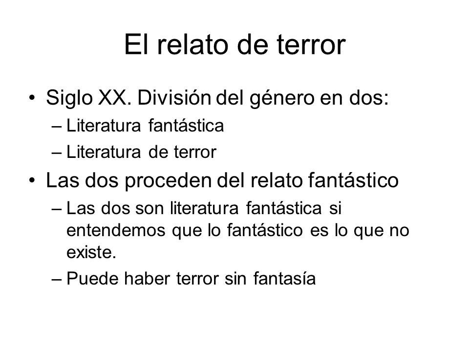 El relato de terror La diferencia es de efecto: –Fantástico es todo lo que crea universos imaginarios –Terror es el efecto que provoca en el lector.