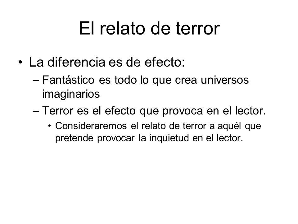 El relato de terror La diferencia es de efecto: –Fantástico es todo lo que crea universos imaginarios –Terror es el efecto que provoca en el lector. C