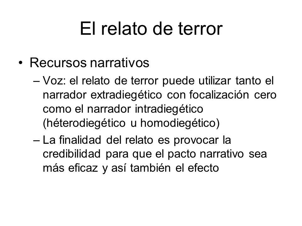 El relato de terror Recursos narrativos –Voz: el relato de terror puede utilizar tanto el narrador extradiegético con focalización cero como el narrad