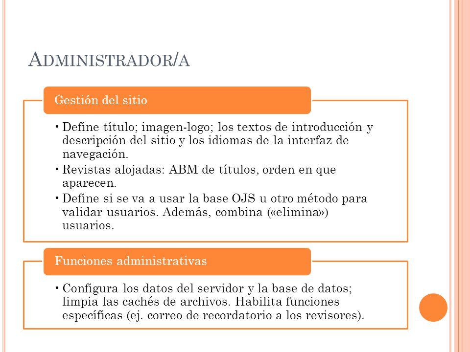 A DMINISTRADOR / A Define título; imagen-logo; los textos de introducción y descripción del sitio y los idiomas de la interfaz de navegación. Revistas