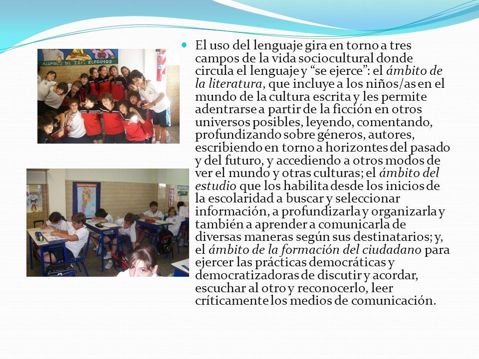 El uso del lenguaje gira en torno a tres campos de la vida sociocultural donde circula el lenguaje y se ejerce: el ámbito de la literatura, que incluy