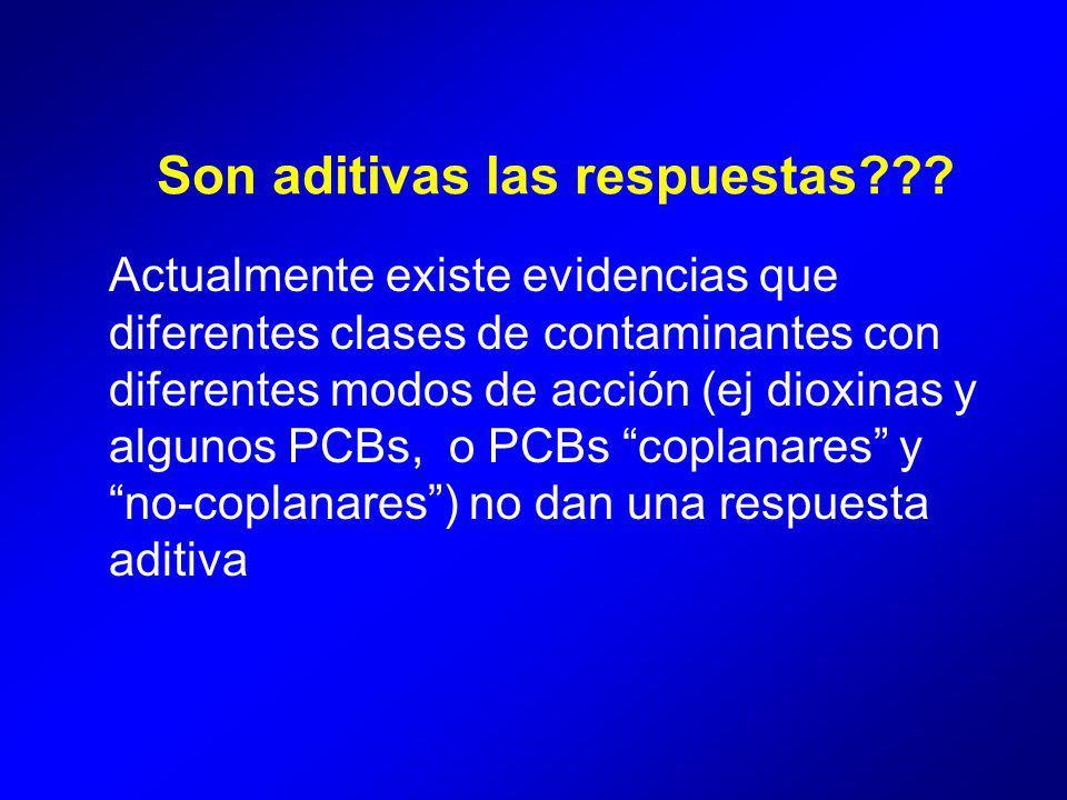 Actualmente existe evidencias que diferentes clases de contaminantes con diferentes modos de acción (ej dioxinas y algunos PCBs, o PCBs coplanares y no-coplanares) no dan una respuesta aditiva Son aditivas las respuestas???