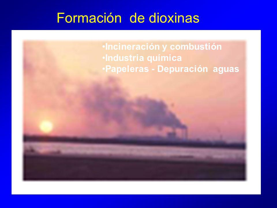 Formación de dioxinas Incineración y combustión Industria química Papeleras - Depuración aguas