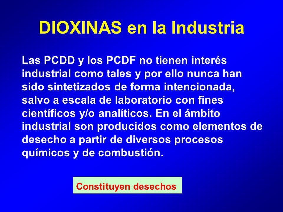 Las PCDD y los PCDF no tienen interés industrial como tales y por ello nunca han sido sintetizados de forma intencionada, salvo a escala de laboratorio con fines científicos y/o analíticos.