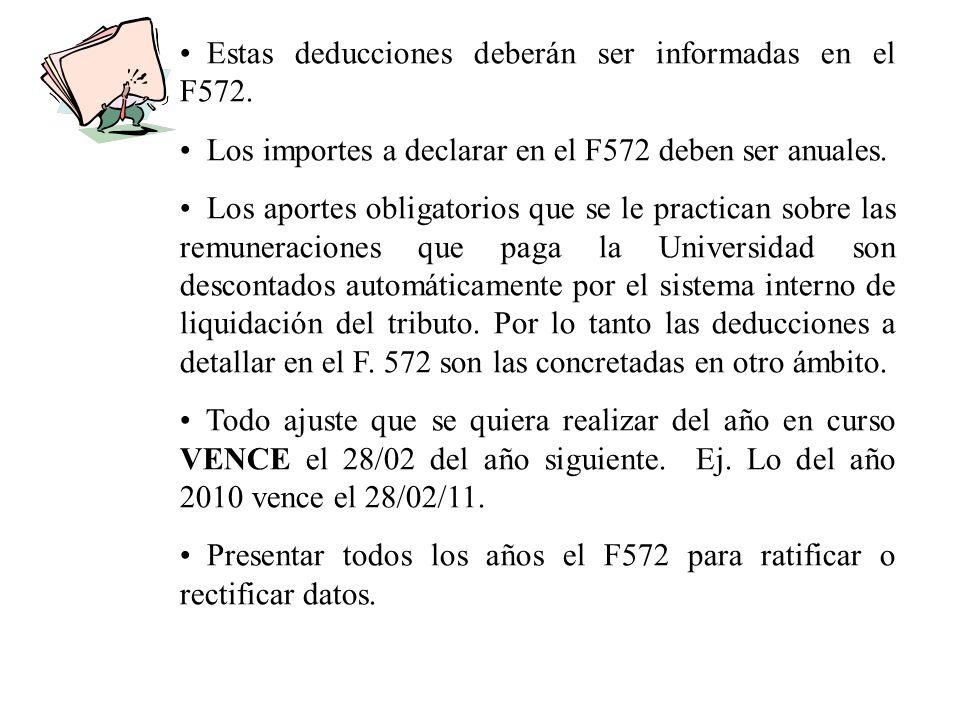 Estas deducciones deberán ser informadas en el F572.