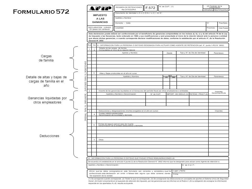 Cargas de familia Detalle de altas y bajas de cargas de familia en el año Ganancias liquidadas por otros empleadores Deducciones Formulario 572
