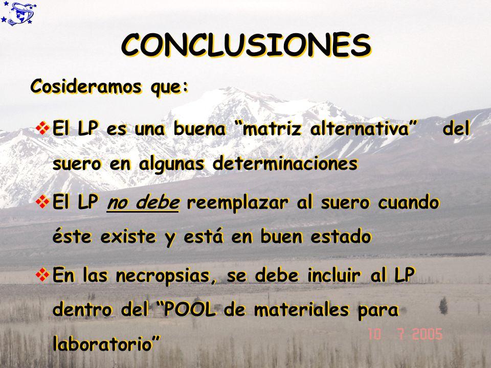 CONCLUSIONES El LP es una buena matriz alternativa del suero en algunas determinaciones El LP no debe reemplazar al suero cuando éste existe y está en