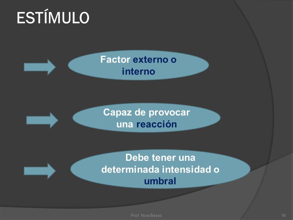 ESTÍMULO Factor externo o interno Capaz de provocar una reacción Debe tener una determinada intensidad o umbral 16Prof. Nora Besso