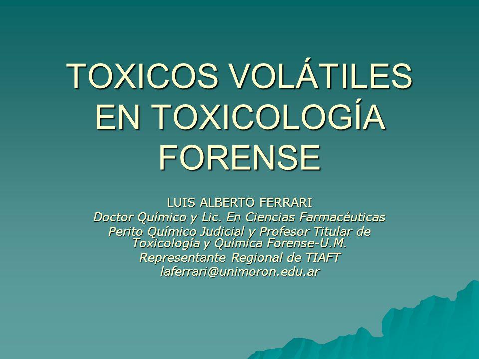 TOXICOS VOLÁTILES EN TOXICOLOGÍA FORENSE LUIS ALBERTO FERRARI Doctor Químico y Lic.