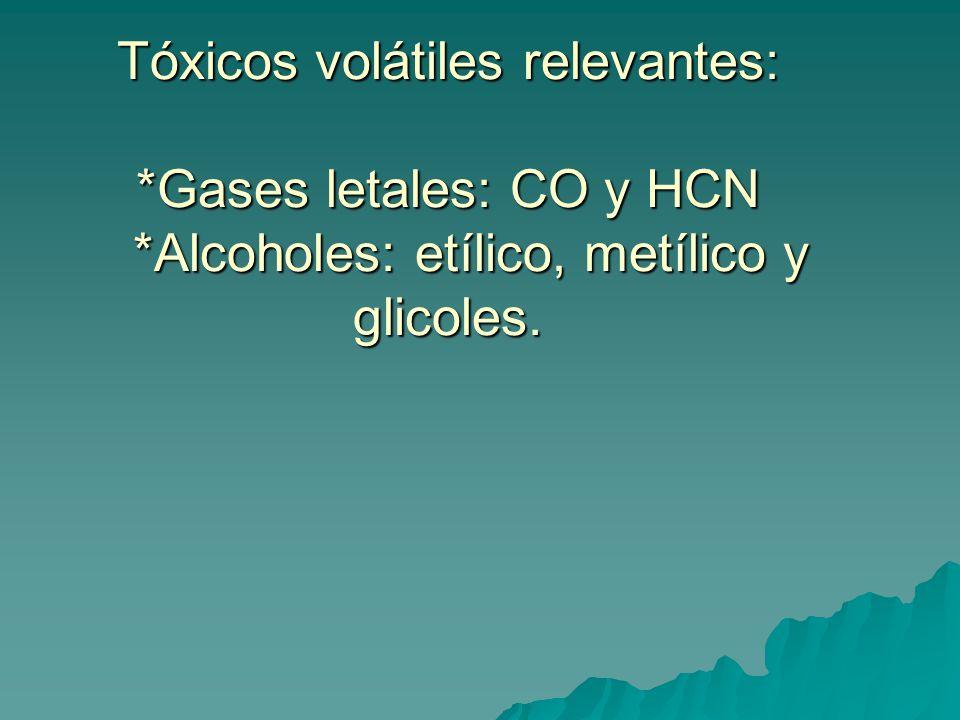 Tóxicos volátiles relevantes: *Gases letales: CO y HCN *Alcoholes: etílico, metílico y glicoles.