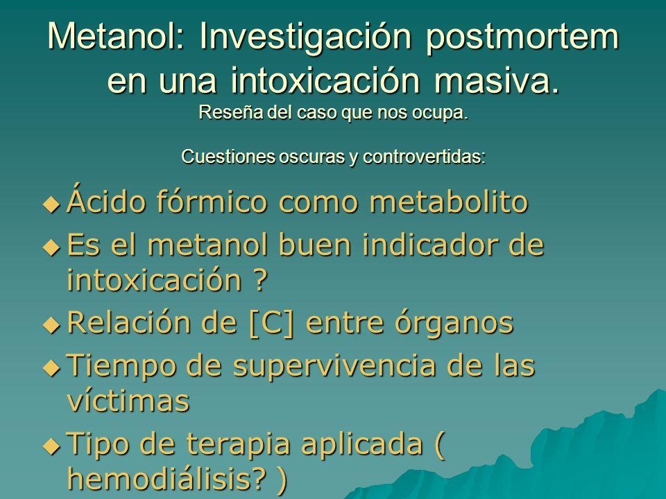 Metanol: Investigación postmortem en una intoxicación masiva.