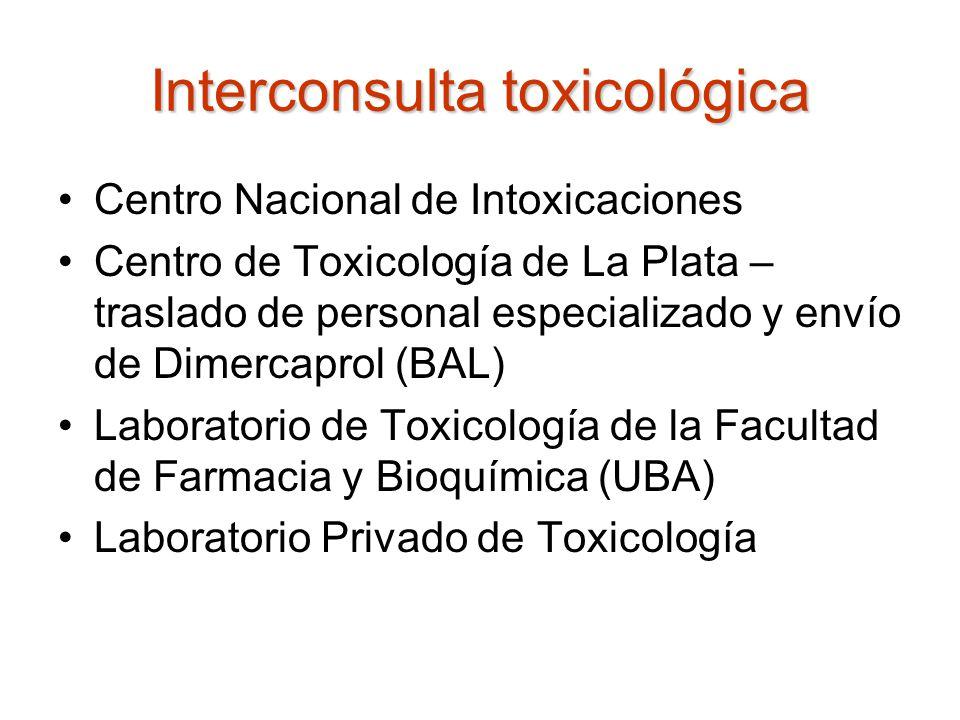 Interconsulta toxicológica Centro Nacional de Intoxicaciones Centro de Toxicología de La Plata – traslado de personal especializado y envío de Dimerca