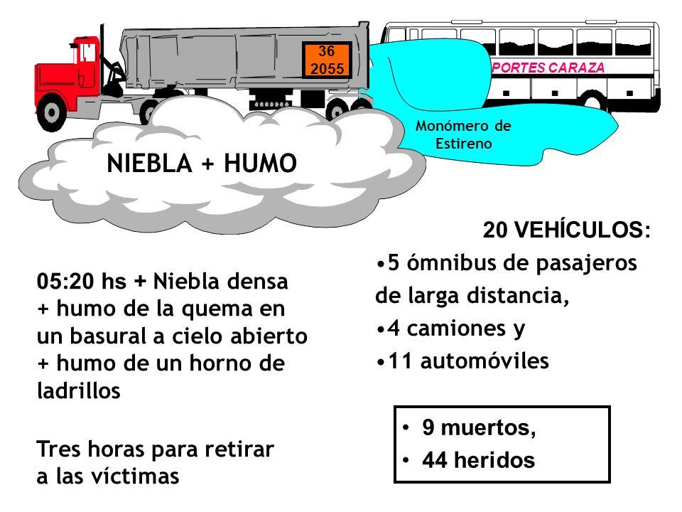 TRANSPORTES CARAZA Monómero de Estireno 36 2055 NIEBLA + HUMO 20 VEHÍCULOS: 5 ómnibus de pasajeros de larga distancia, 4 camiones y 11 automóviles Tre