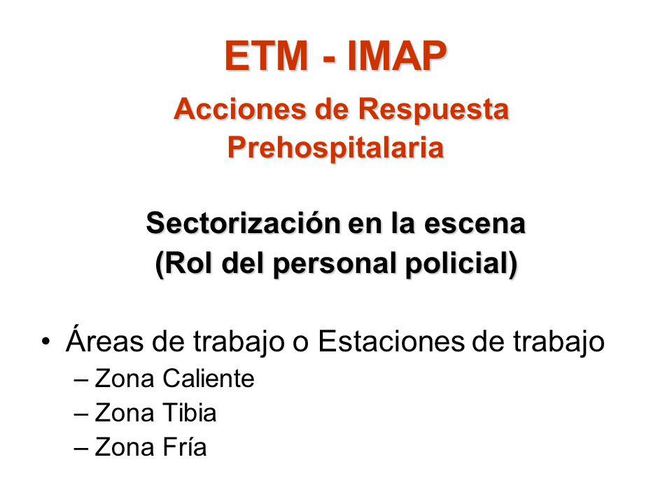 ETM - IMAP Acciones de Respuesta Prehospitalaria Sectorización en la escena (Rol del personal policial) Áreas de trabajo o Estaciones de trabajo –Zona