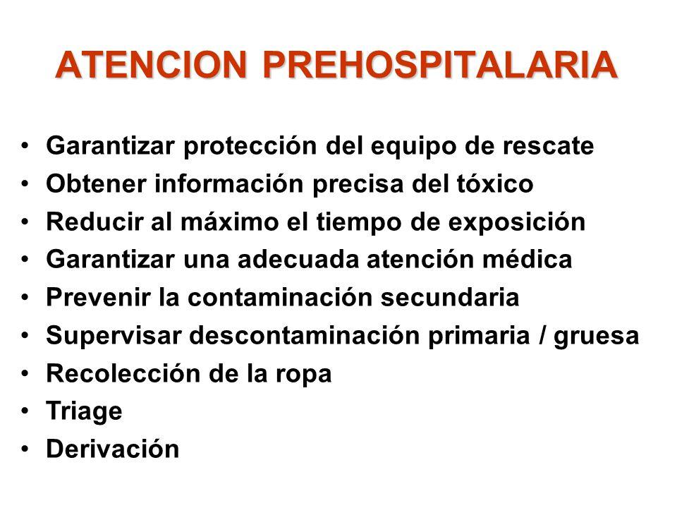 ATENCION PREHOSPITALARIA Garantizar protección del equipo de rescate Obtener información precisa del tóxico Reducir al máximo el tiempo de exposición