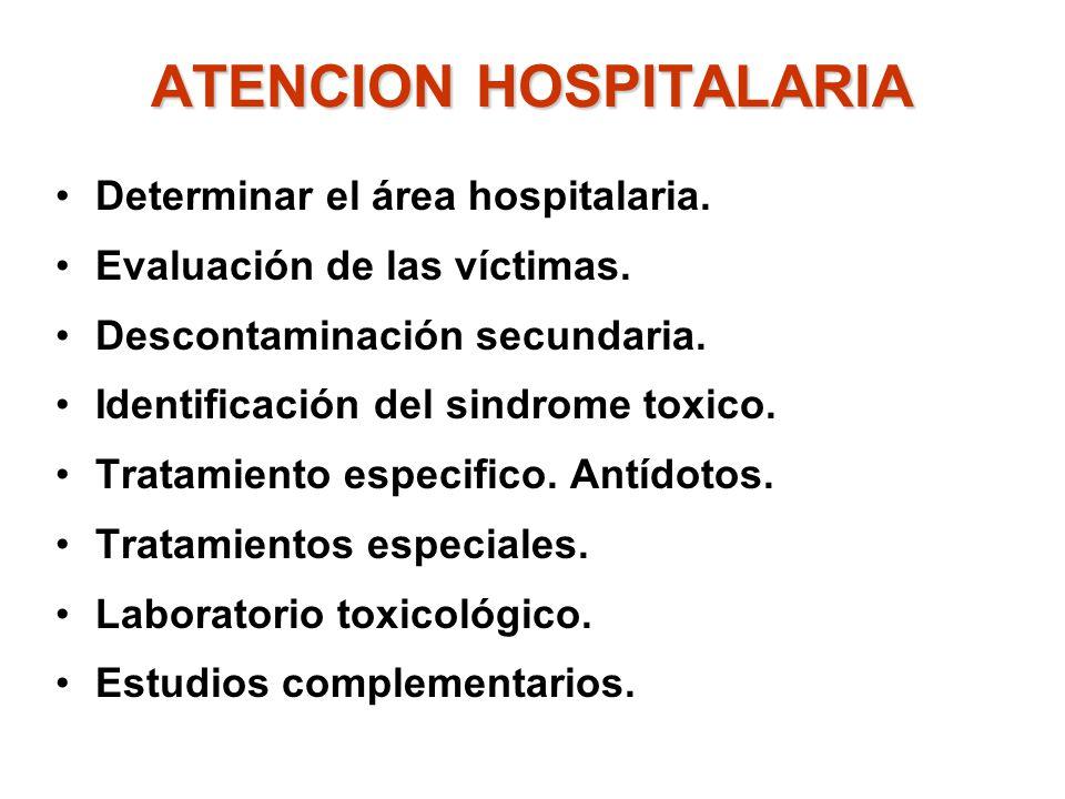 ATENCION HOSPITALARIA Determinar el área hospitalaria. Evaluación de las víctimas. Descontaminación secundaria. Identificación del sindrome toxico. Tr