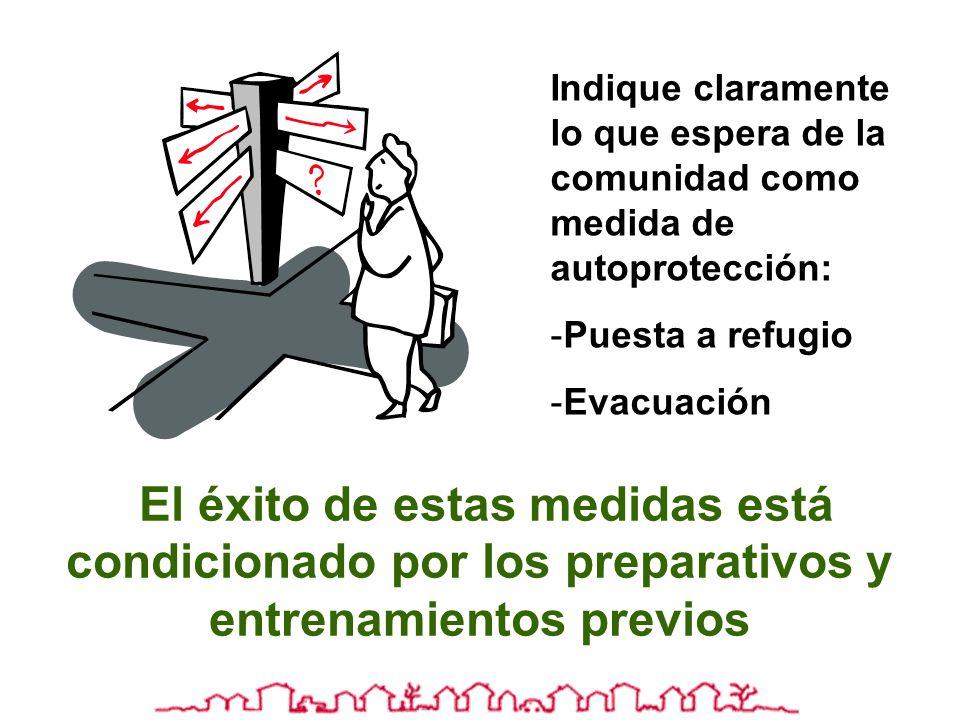 Indique claramente lo que espera de la comunidad como medida de autoprotección: -Puesta a refugio -Evacuación El éxito de estas medidas está condicion