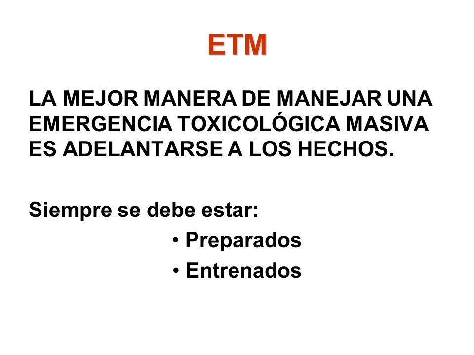 LA MEJOR MANERA DE MANEJAR UNA EMERGENCIA TOXICOLÓGICA MASIVA ES ADELANTARSE A LOS HECHOS. Siempre se debe estar: Preparados Entrenados ETM