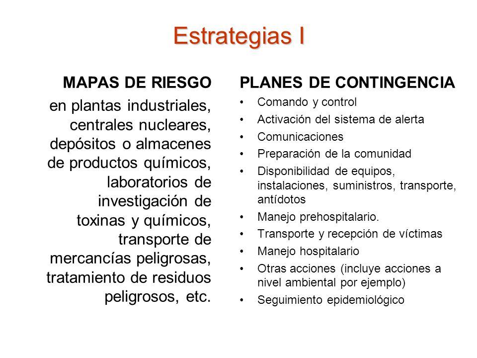 Estrategias I MAPAS DE RIESGO en plantas industriales, centrales nucleares, depósitos o almacenes de productos químicos, laboratorios de investigación