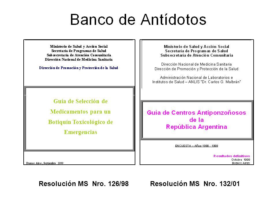 Guía de Selección de Medicamentos para un Botiquín Toxicológico de Emergencias Resolución MS Nro. 126/98Resolución MS Nro. 132/01
