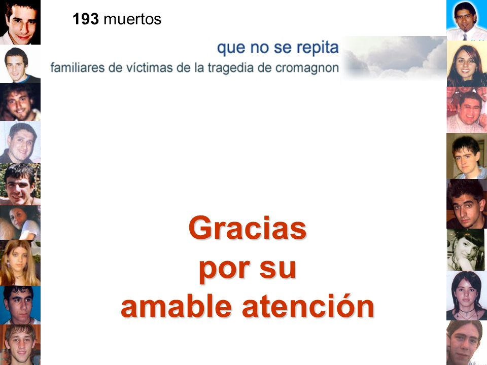Gracias por su amable atención 193 muertos