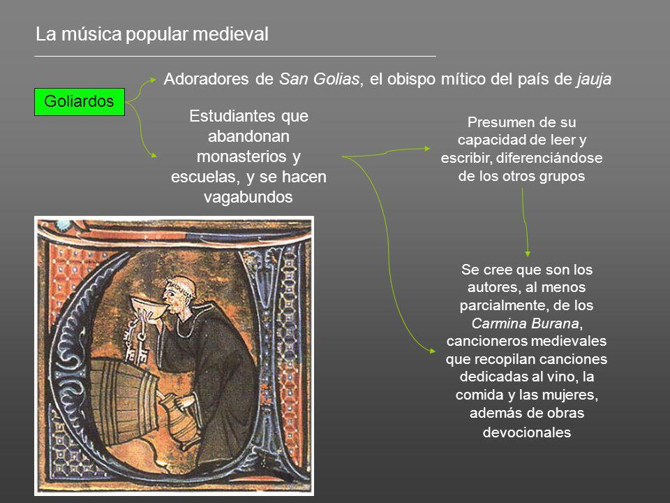 La música popular medieval Goliardos Adoradores de San Golias, el obispo mítico del país de jauja Estudiantes que abandonan monasterios y escuelas, y