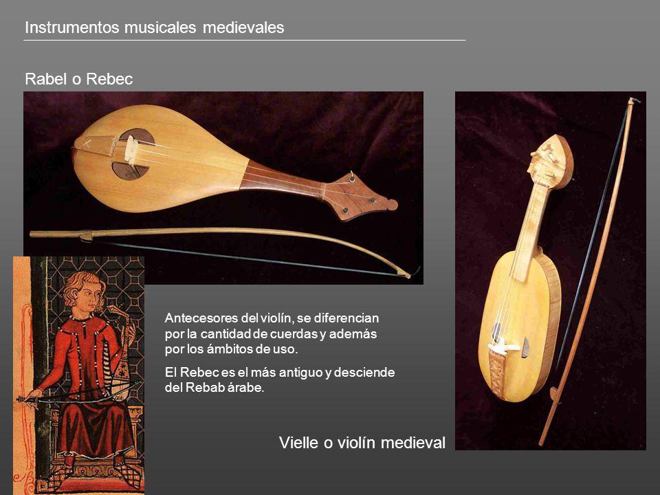 Rabel o Rebec Vielle o violín medieval Antecesores del violín, se diferencian por la cantidad de cuerdas y además por los ámbitos de uso. El Rebec es