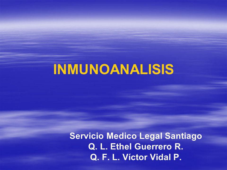 INMUNOANALISIS Servicio Medico Legal Santiago Q. L. Ethel Guerrero R. Q. F. L. Víctor Vidal P.