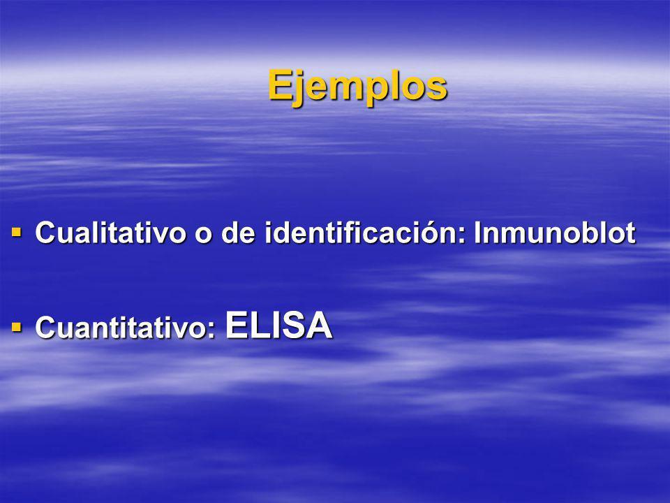 Ejemplos Cualitativo o de identificación: Inmunoblot Cualitativo o de identificación: Inmunoblot Cuantitativo: ELISA Cuantitativo: ELISA