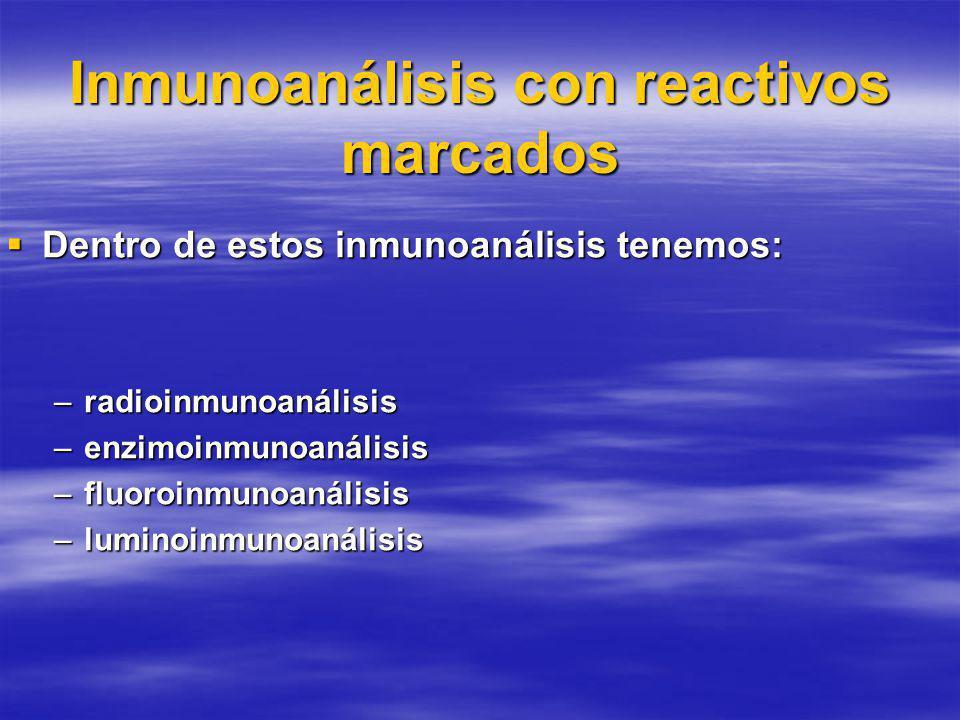 Inmunoanálisis con reactivos marcados Dentro de estos inmunoanálisis tenemos: Dentro de estos inmunoanálisis tenemos: –radioinmunoanálisis –enzimoinmunoanálisis –fluoroinmunoanálisis –luminoinmunoanálisis