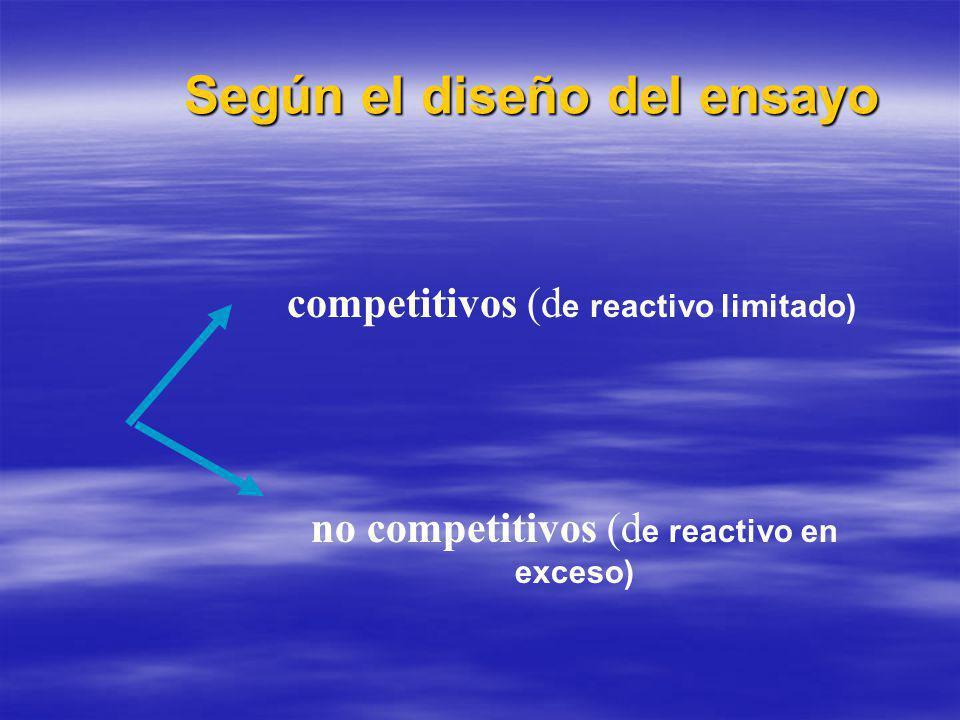 Según el diseño del ensayo competitivos (d e reactivo limitado) no competitivos (d e reactivo en exceso)
