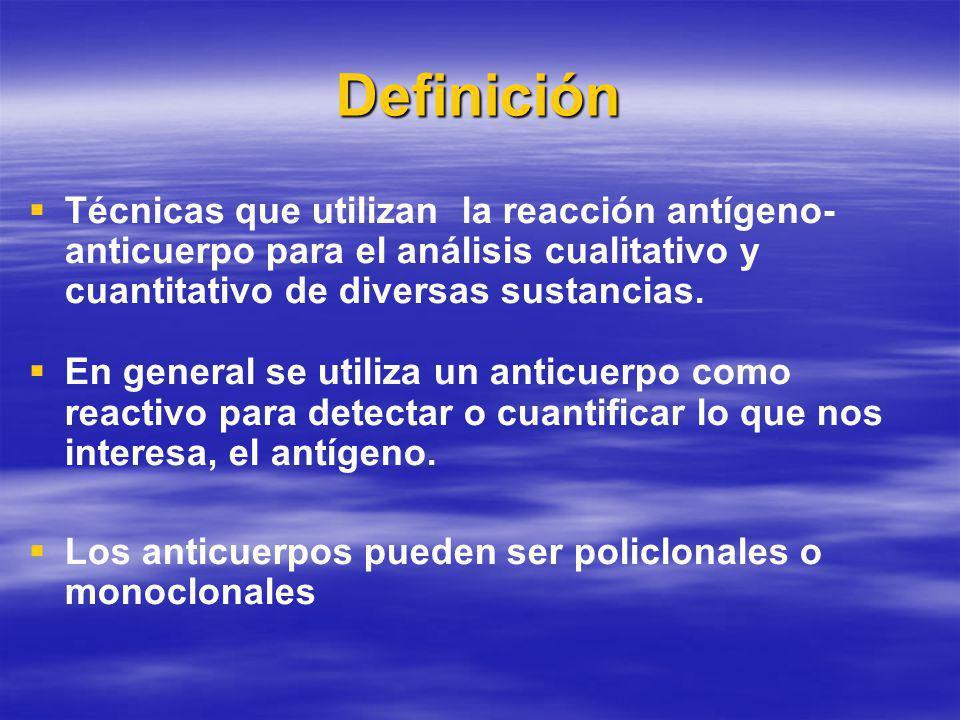 Definición Técnicas que utilizan la reacción antígeno- anticuerpo para el análisis cualitativo y cuantitativo de diversas sustancias.