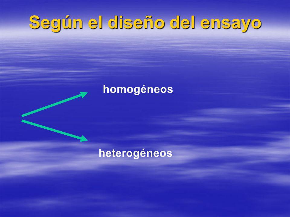 Según el diseño del ensayo homogéneos heterogéneos