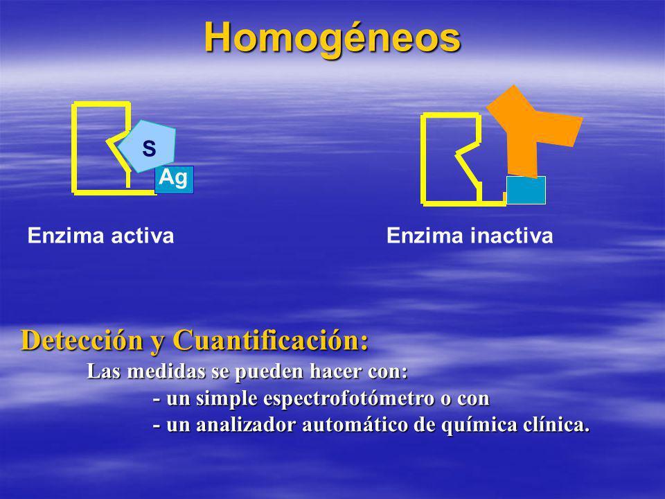 Homogéneos Enzima activaEnzima inactiva S Detección y Cuantificación: Las medidas se pueden hacer con: - un simple espectrofotómetro o con - un analizador automático de química clínica.