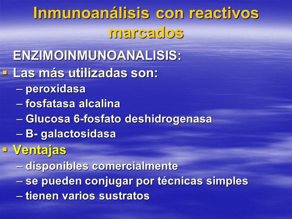 Inmunoanálisis con reactivos marcados ENZIMOINMUNOANALISIS: Las más utilizadas son: Las más utilizadas son: –peroxidasa –fosfatasa alcalina –Glucosa 6-fosfato deshidrogenasa –B- galactosidasa Ventajas Ventajas –disponibles comercialmente –se pueden conjugar por técnicas simples –tienen varios sustratos