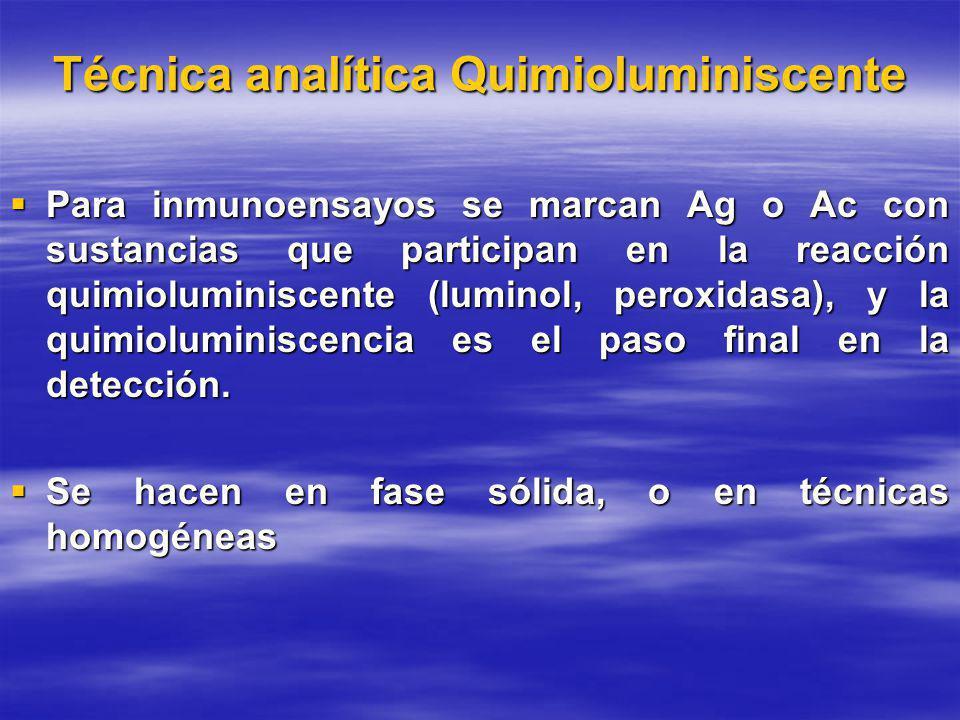 Técnica analítica Quimioluminiscente Para inmunoensayos se marcan Ag o Ac con sustancias que participan en la reacción quimioluminiscente (luminol, peroxidasa), y la quimioluminiscencia es el paso final en la detección.